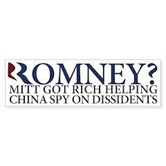 Romney Helped Chinese Spy Bumper Bumper Sticker