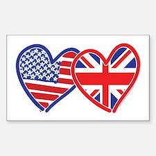 American Flag/Union Jack Hear Decal