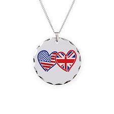American Flag/Union Jack Hear Necklace