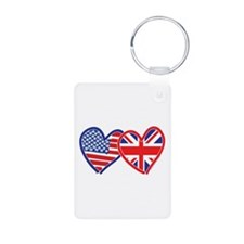 American Flag/Union Jack Hear Keychains