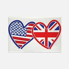 American Flag/Union Jack Hear Rectangle Magnet
