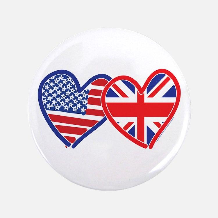 "American Flag/Union Jack Hear 3.5"" Button"