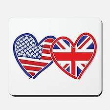 American Flag/Union Jack Hear Mousepad