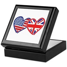 American Flag/Union Jack Hear Keepsake Box