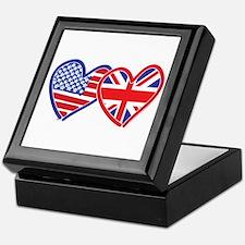 American Flag/Union Jack Hear Keepsake Box