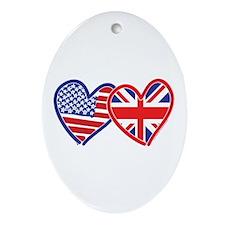 American Flag/Union Jack Hear Ornament (Oval)