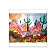 """Desert! Southwest art! Square Sticker 3"""" x 3"""""""