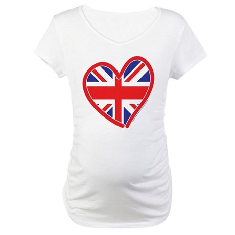 United Kingdom Union Jack Hea Maternity T-Shirt