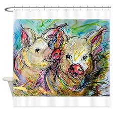 piglets, pig pair Shower Curtain