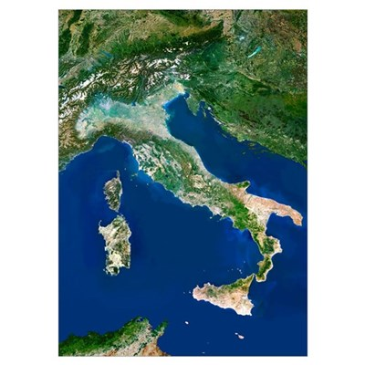 Italy, satellite image Poster