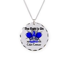 Fight is On Colon Cancer Necklace Circle Charm
