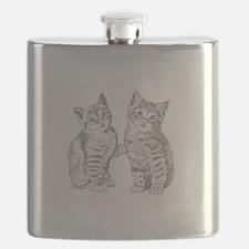 Two Tabby kittens Flask