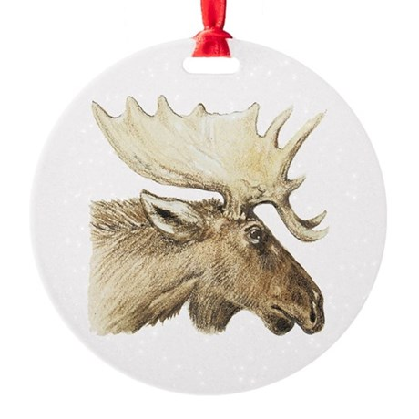 Moose Drawing Round Ornament