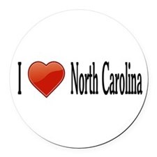 I Love North Carolina Round Car Magnet