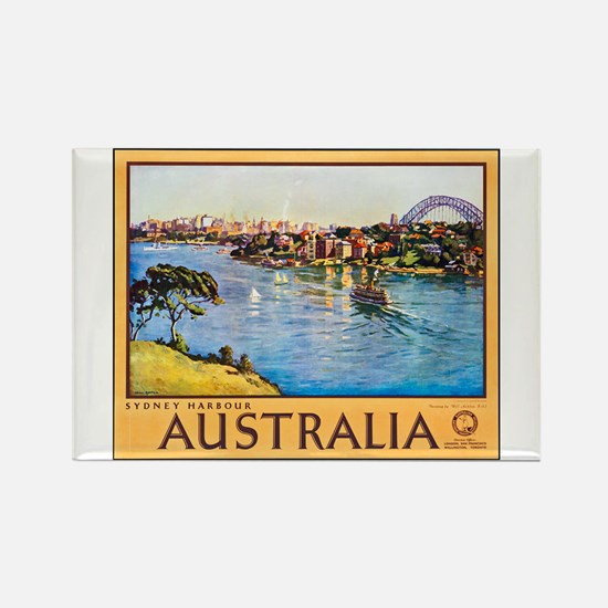 Australia Travel Poster 10 Rectangle Magnet