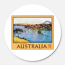 Australia Travel Poster 10 Round Car Magnet