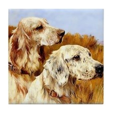TWO ENGLISH SETTERS Tile Coaster