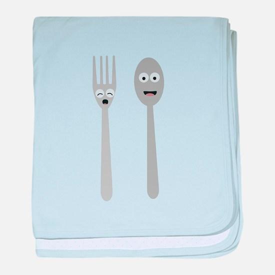 Spoon and Fork Kawaii baby blanket
