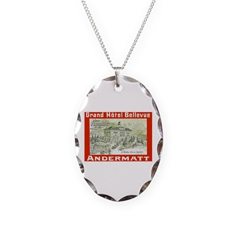 Switzerland Travel Poster 3 Necklace Oval Charm