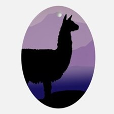alpaca purple mountains Oval Ornament