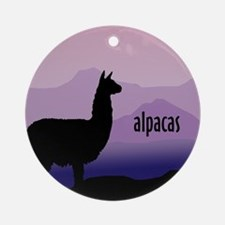 alpaca purple mountains Ornament (Round)