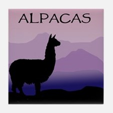 alpaca purple mountains Tile Coaster