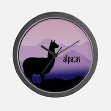 alpaca purple mountains Wall Clock