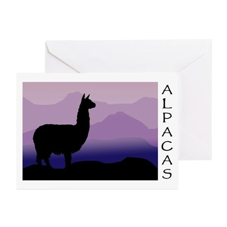 alpaca purple mountains Greeting Cards (Package of