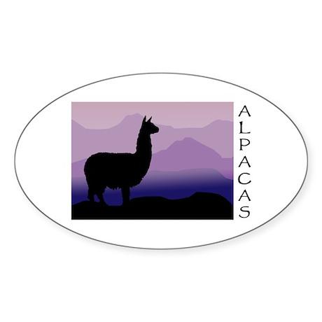 alpaca purple mountains Oval Sticker