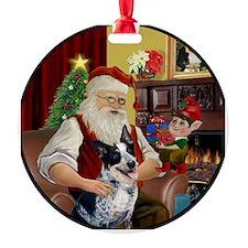 Santa & AussieCattleDog Ornament