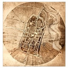 Historical city map of Imola, Italy Poster