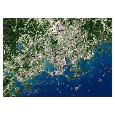 Helsinki, satellite image Poster