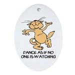 Dancing Cat Oval Ornament