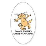 Dancing Cat Oval Sticker