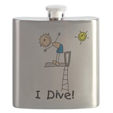 Boy I Dive Stick Figure Flask