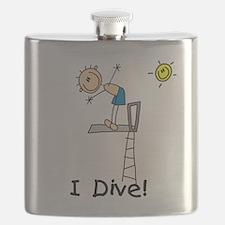Boy I Dive Stick Figure Flask