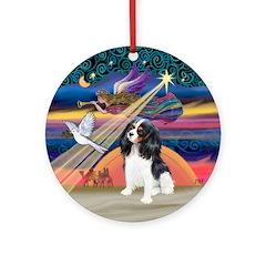 XmasAngel-Tri Color Cavalier Ornament (Round)
