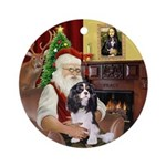 Santa & his Tri color Cavalier Ornament (Round
