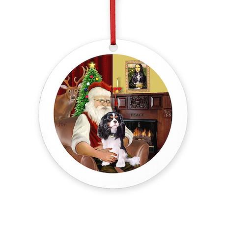 Santa & his Tri color Cavalier Ornament (Round