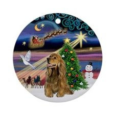 Xmas Music - Brown Cocker Spaniel Ornament (Round)