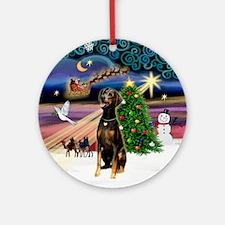Xmas Magic - Doberman (natural) Ornament (Round)