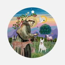 St Francis/ Bull Terrier Ornament (Round)