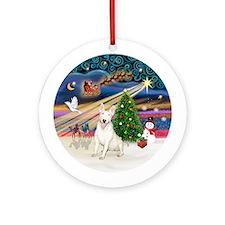 Xmas Magic - Bull Terrier (laugh) Ornament (Round)