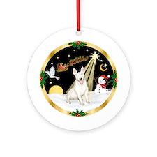 Santa's Night Flight Bull Terrier Ornament (Round)