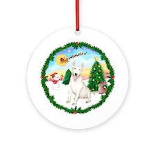 Santa's TakeOff1 & Bull Terrier Ornament (Roun