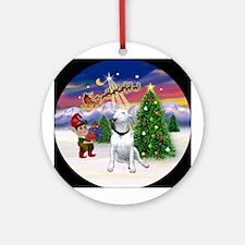Santa's Take Off & Bull Terrier Ornament (Roun