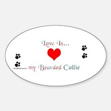 Bearded Collie Love Oval Decal