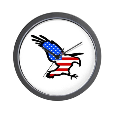 Stars and Stripes Eagle Wall Clock
