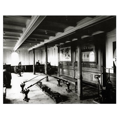 The onboard gym on the Titanic showing the rowing Poster