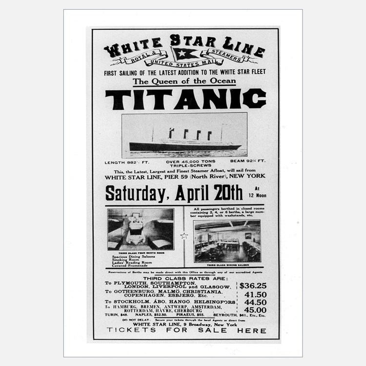 Poster advertising the voyage of the Titanic from